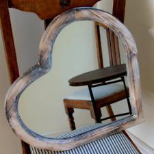 Vintage Outdoor Garden Wooden Frame Love Heart Wall Mounted Decorative Mirror B