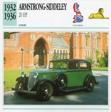 1932-1936 ARMSTRONG SIDDELEY 20 HP Classic Car Photograph/Information Maxi Card