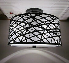 Black RV 12 Volt LED 13 1/2 Round Dinette Ceiling Light Metal Sparkle Drum Shade