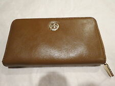 Tory Burch Dena Zip Continental Wallet Leather Luggage $195 Authentic NWT New