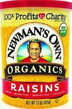 NEWMAN'S OWN ORGANICS, RAISINS,CANISTER 15 OZ Pack of 12
