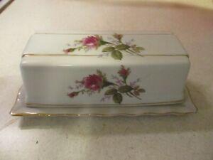 Vintage Moss Rose Butter Dish White Porcelain Japan Gold Trim