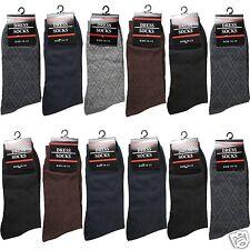 New 12 Pairs Mens Geometric Dress Socks Cotton Fashion Multi-Color Size 10-13