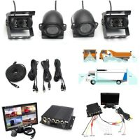 """4CH H.264 7""""LCD Monitor+4x Night Vision Camera Video Recorder For Truck Van Bus"""