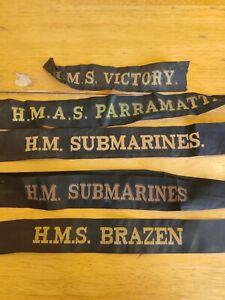 5 Royal Navy Cap Tallies H.M.S Brazen Victory H.M. Submarines H.M.A.S Parramatta