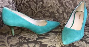 Nine West MARGOT Aquamarine/ Mint Leather Pointy Toe Classic Shoes Women Sz 9.5M