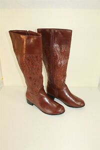 Women's faux leather Mid Boots Weave Brown Zip Up Size 7.5M