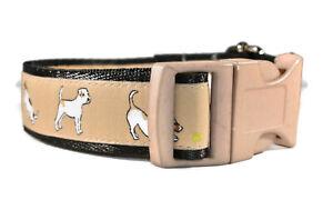 Jack Russells On Brown Adjustable handmade dog puppy collar boy girl medium