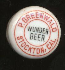 Wunder Beer Oakland California Pre Pro Porcelian Bottle Stop Greenwald Stockton