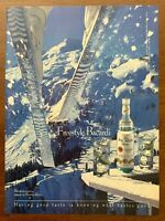 1990 Bacardi Rum Vintage Print Ad/Poster Skiing Retro Pop Art Bar Décor