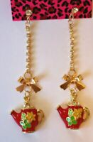 Betsey Johnson Crystal Rhinestone Enamel Bow Teapot Post Earrings