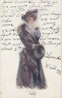 Artist Signed Portrait - Woman in Winter Coat with Muff and Hat with Veil - 1908
