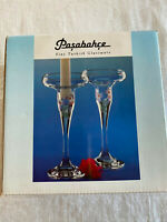 PASABAHCE Fine Blown Turkish Glass 2 Single Light CANDLE HOLDERS 17cm Eden Coll