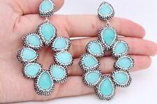 Turkish Jewelry Drop Aquamarine Swarovski Crystals 925 Sterling Silver Earrings