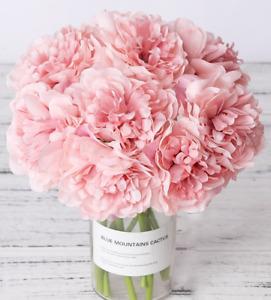 Pink Peony Fake Flower Peony Artificial Silk Flower 23cm Home Decor Wedding 5Pcs