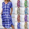 Womens V Neck Short Sleeve Midi Dress Ladies Casual Holiday Summer Dresses Ceng