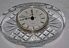 Crystal Quartz Desk Clock Staiger Oval Cut Glass Desk Table Vintage Clear Mantel