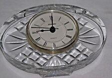 Crystal Quartz Desk Clock Staiger Oval Cut Glass Desk Table Vintage Clear Mantel