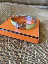 Authentic Hermes H clic clac bracelet narrow Yellow enamel/ Silver