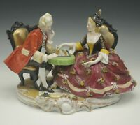 MULLER VOLKSTEDT GERMANY CHESS PLAYING COLONIAL MALE FEMALE GROUPING ANTIQUE