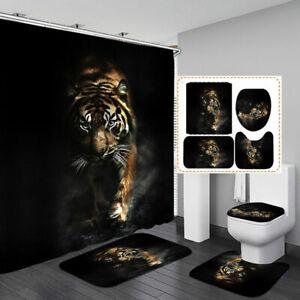 Fierce Tiger Black Shower Curtain Bath Mat Toilet Cover Rug Bathroom Decor