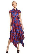 Alice + olivia Ilia Ruffle Dress Blue Red Floral Size 10 NWOT