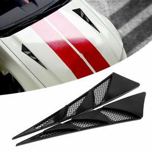 2x Black Car Air Flow Intake Scoop Bonnet Simulation Vent Cover Hood  Decoration