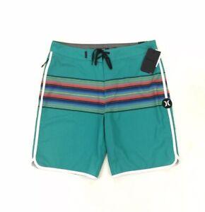 "NEW Hurley Phantom 20"" Baja Teal Green Mens Board Shorts Bathing Suit Striped"