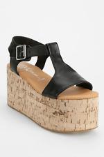 Jeffrey Campbell Flatform Platform Sandal Cork Leather UK 5 38 Asos