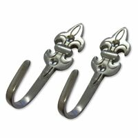 Chrome Fleur De Lys Curtain Tie Back Hold back Hooks x 2