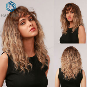 Medium Curly Wavy Wigs Ombre Brown Blonde Synthetic Wigs with Bangs for Women