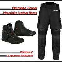 Motorbike Motorcycle Textile Trouser Pant Waterpoof Racing Leather Shoes Boots