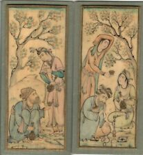 PR of early Indian miniature scenes, watercolor, signed