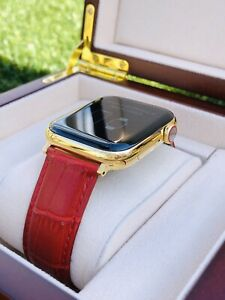 24K Gold Plated 44MM Apple Watch SERIES 5 Stainless Steel Red Band GPS LTE