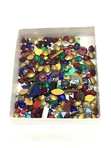 Mixed Lot Of 100+ Foiled Glass Cabochon Beads Mixed