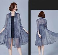 Fashion Lady Waterfall Cardigan Sheer Chiffon Long Cape Coat Summer Beach Casual
