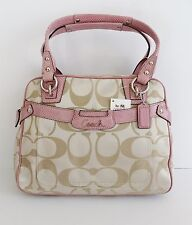 NWT Coach 16194 Penelope C Signature Sateen Satchel ~ Light Khaki/Rose