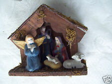 Christmas Nativity Stable Mary Joseph Baby Jesus Angel & Lamb In A Manger