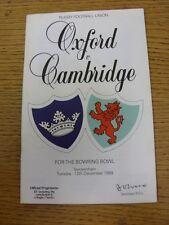 Programma di rugby 12/12/1989: Università di Oxford V Cambridge University [a T