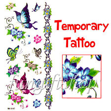 Temporary Tattoo Removable Colorful Butterfly Flower F1