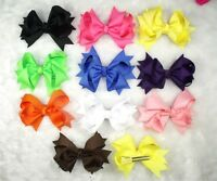 """Wholesale Baby Infant Girl Ribbon Costume Boutique 3.5"""" Hair Bows Flower Clip A1"""