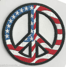 PEACE SIGN - AMERICAN FLAG/WHITE BACKGROUND - IRON ON PATCH