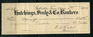 US HUTCHINGS SEALY & CO BANKERS OF GALVESTON, TEXAS CANCELLED CHECK 8/5/1908