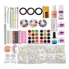 Full Nail Art Set Acrylic Powder Primer Glitte 500pcs Tips Brush Glue Dust KITS