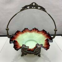 Antique Victorian Brides Basket w/ Stand Custard to Red to Black Cased Glass