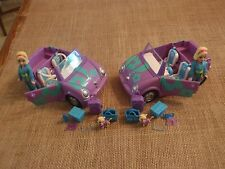 Polly Pocket Purple Teal Car Convertible Travel Accessory Twin Set Lot X81
