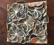 NWT Floral 3D Orange Beige Green Abalone Shell Decorative Pillow Cover PCL