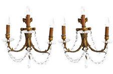 Grande paire d'appliques en bronze doré et pampilles de style Louis XVI