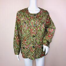 Charter Club 1X Jacket Green Pink Lightweight Long Sleeve Cotton Blend