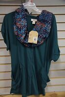 Route 66 Women's Green Dolman Cardigan With Multi-Color Removable Scarf New